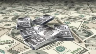 Dolly shot across 100 Dollar bills and silver bars - Money And Financials — Stock Video