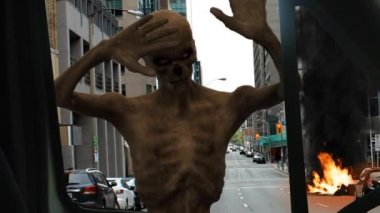 Walking dead undead zombie strikes against car disc — Stock Video