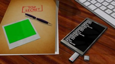 Top Secret Files with green screen pictures and smartphone — Stock Video