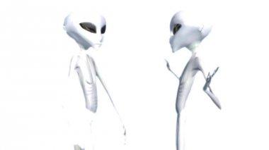 Aliens on white luminous background — Stock Video