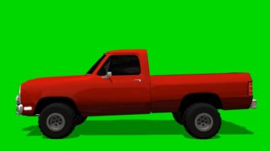 PickUp Truck Car driving animation - green screen — Stock Video
