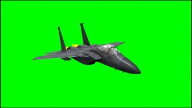 Jet Airplane F-15 in fly - green screen — Stock Video