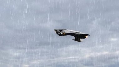 Alien UFO Spacecraft fly over in the sky — Stock Video