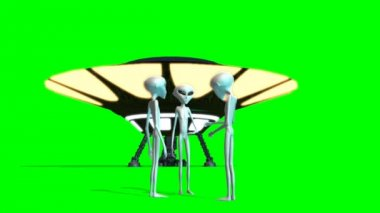 UFO and Aliens seperated on green screen — Stock Video