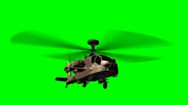 Helicopter AH-64 Apache in fly - green screen — Stock Video