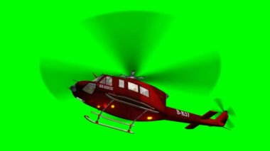 Helicopter Bell UH1 Huey - Air Rescue in fly - green screen — 图库视频影像