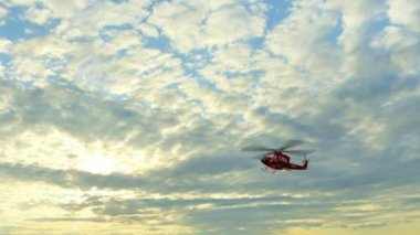 Helicopter Bell UH1 Huey - Air Rescue fly by — Video Stock