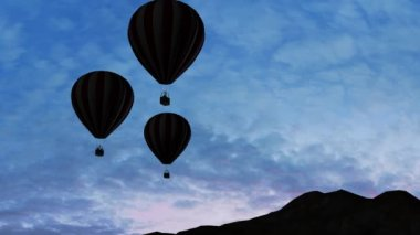 Hot Air Balloons Beautiful Silhouette in the sunset — ストックビデオ