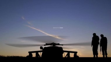 Black Hawk Helicopter Rising In The Sunset — Video Stock