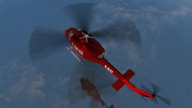 Vrtulník Bell Huey Uh1 - Air Rescue létat přes otevřené vodě — Stock video