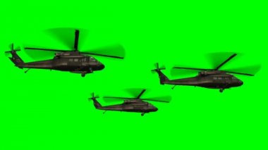 Military Helicopter Uh-60 Black Hawk in fly - green screen — Stock Video