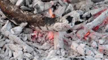 Embers And Ashes Of Huge Fire Place - close up — Stock Video