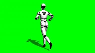 Human I Robot runs — Stock Video
