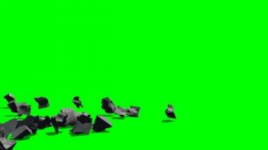 Explonding rubble stones — Stock Video