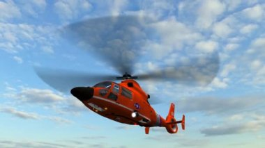 Coast guard helicopter flying in the sky — Stock Video