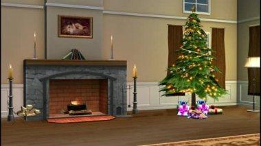 Christmas living room — Stock Video