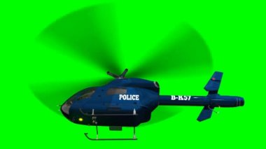 Police Helicopter in fly - close up  - green screen — Stock Video