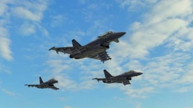 Armed fighter jets fly — Stock Video