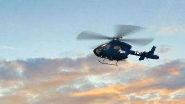 Police Helicopter fly over - close up — Stock Video