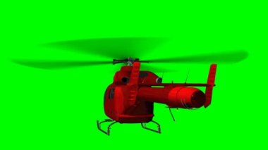 Red helicopter eurocopter in fly - green screen — Stock Video