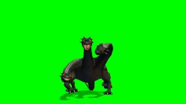 Loch Ness - Hydra mystical water Dragen Snake bites around - green screen — Stock Video