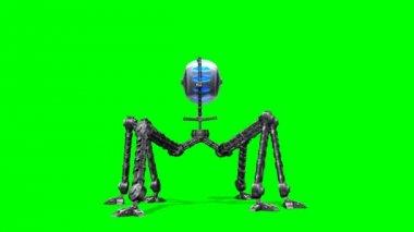 Alien Hexapot Mech War Drohne walks - green screen — Stock Video