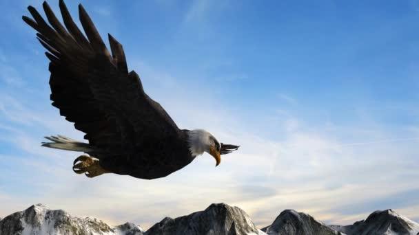 Bald eagle flies over mountains — Vídeo de stock