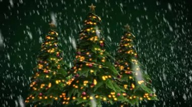 Christmas trees on green background — Stock Video