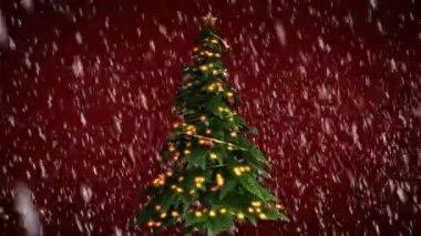 Noel ağacı kırmızı zemin üzerine — Stok video