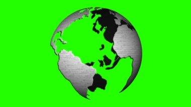 Globe rotating on green background — Стоковое видео