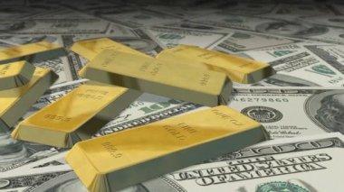 Dollar bills and gold bars — Stock Video