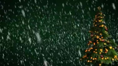 Christmas tree on green background — Video Stock