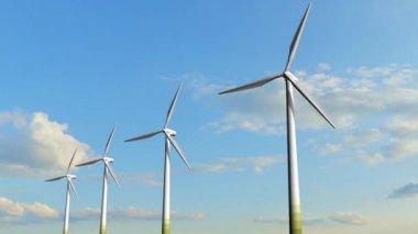 Rotating windmill turbines — Stock Video