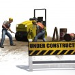 Road roller construction machine and  workers — Stock Photo #68678409