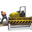 Road roller construction machine and  workers — Stock Photo #68678431