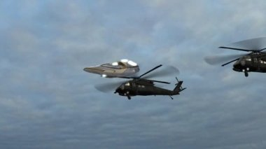 Flying saucer and helicopters against sky — Stock Video