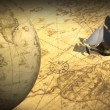 Rotating globe and map with ship — Stock Video #69111479