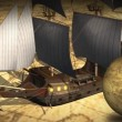 Rotating globe and map with ship — Stock Video #69116755