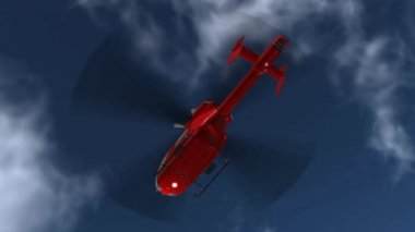 Red Helicopter in Flight — Stock Video