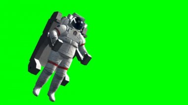 Flying astronaut on green screen — Stock Video
