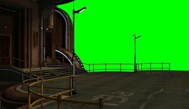 Landing platform of futuristic city — Stock Video