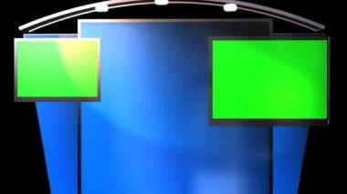Studio with animated green screens tv — Vidéo