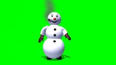 Snowman smokes a pipe — Stock Video