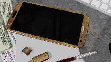 Smartphone z zielonego ekranu na stole — Wideo stockowe