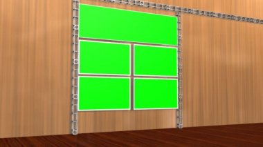 Studio with green screen video wall background — Stock Video