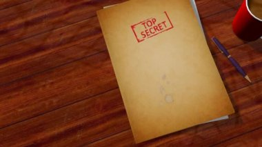 Open notepad with text top secret — Stock Video