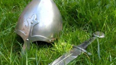 Medieval sword with helmet — Stock Video