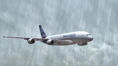 Airbus A-380 flying in the storm — Stock Video