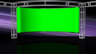 Studio with green screen on wall — Stock Video