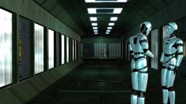 Robots talking in corridor — Stockvideo